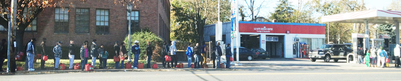 Hurricane Sandy aftermath - a line for gas in NJ